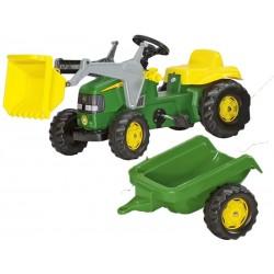 Rolly Toys Kid Traktor na pedały John Deere z łyżką i przyczepą
