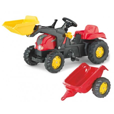 Rolly Toys Traktor Kid czerwony z łyżką i przyczepą