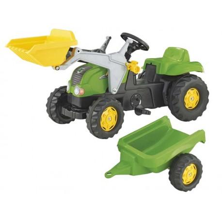 Rolly Toys Traktor Kid zielony z łyżką i przyczepą