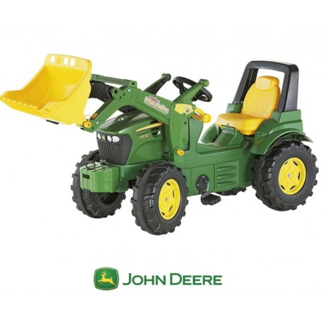 Rolly Toys Duży traktor na pedały John Deere Łyżka gumowe nakładki na koła
