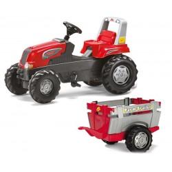 Rolly Toys traktor na pedały Junior RT czerwony z przyczepą Farm New