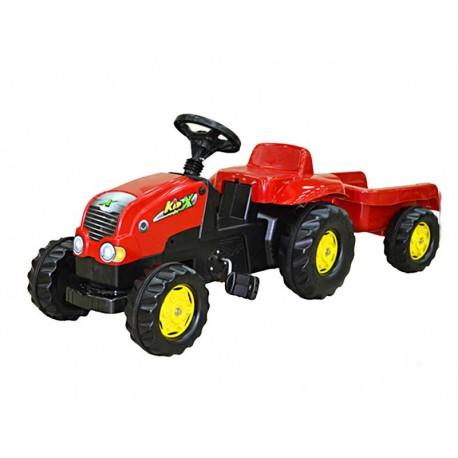 Rolly Toys Traktor Kid na pedałki czerwony z przyczepą