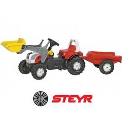 Rolly Toys Traktor na pedały STEYR czerwony z łyżką i przyczepą