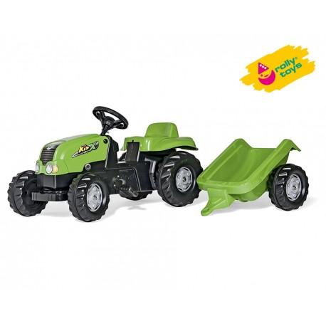 Rolly Toys Traktor na pedały Kid zielony z przyczepą